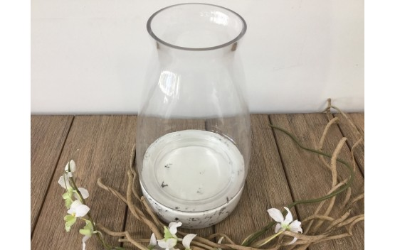 Glass Hurricane lamp with Marble Base