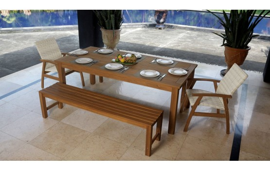 Teak 3 piece Outdoor Bench seat Dining Setting