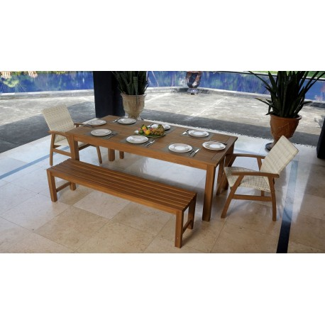 The Panama Bench Teak Dining with Flinders Chairs