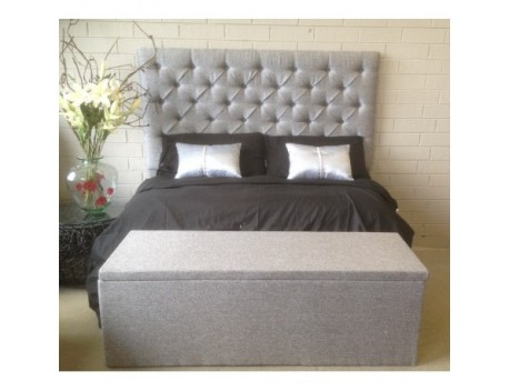 King size Upholstered High rise Bed Head grey