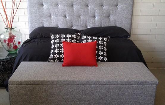 Low Line Queen Upholstered Bed head Ash