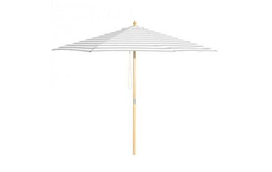 Peninsula - 3m diameter grey and white stripe umbrella with cover