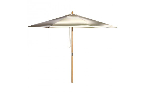 Billy Fresh Coastal - 3m diameter taupe and white stripe umbrella with cover