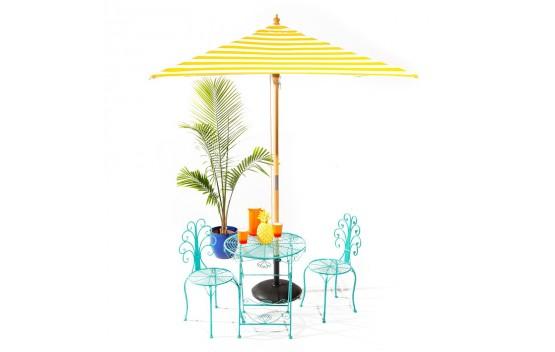 Sunny Marbella - 2m square yellow and white stripe umbrella with cover