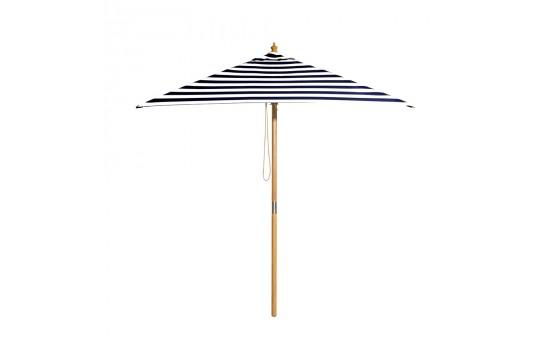 French Riviera - 2m black and white stripe umbrella with cover